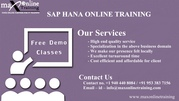 SAP HANA ONLINE TRAINING by Certified Trainer with Hands of Experienc